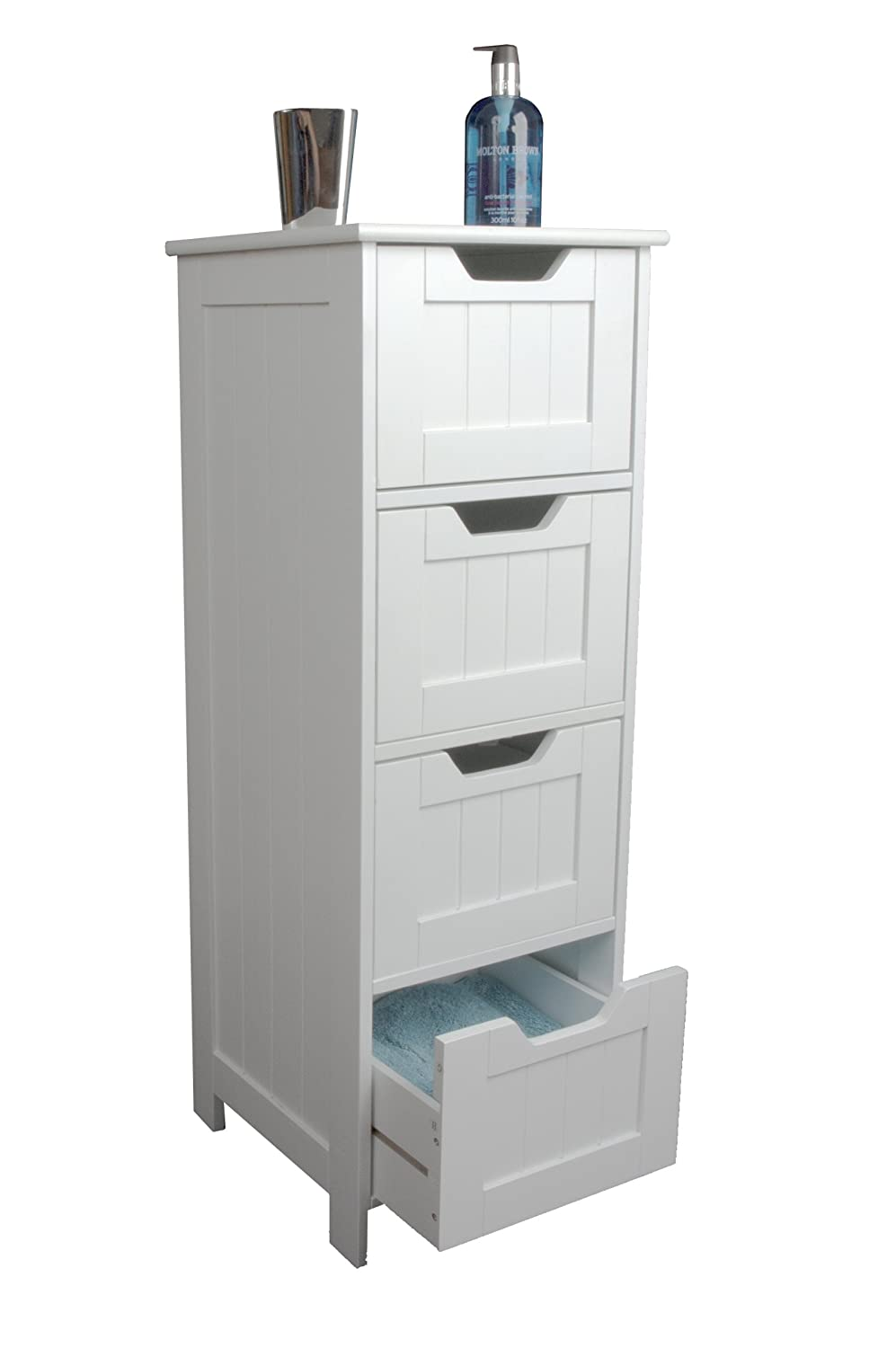 Bathroom Cabinet Storage - Slim Design Drawer Unit, White Wooden and Freestanding, suit Bedroom, Living and Hallway - Sennen range by Elegant Brands