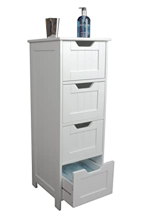 Bathroom Cabinet Storage Slim Design Drawer Unit White Wooden
