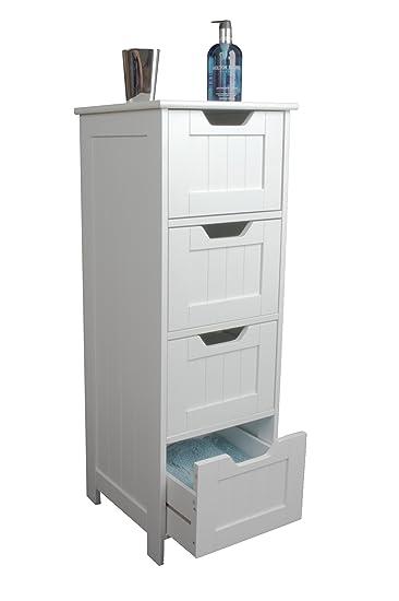 Elegant Badezimmer Schrank Aufbewahrung U2013 Slim Design Schublade Einheit, Weiß Holz   Und Freistehend, Anzug