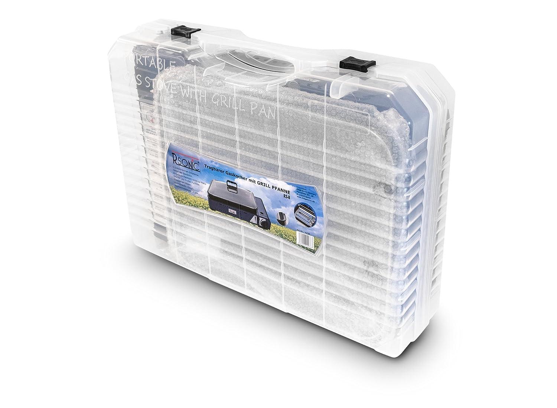 grill a gas con bistecchiera portatile con coperchio in vetro 2,1/kW con 8 x cartucce a gas RSonic RS-8/Deluxe