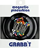 Grabbit Magnetic Sewing Pincushion with 50 Plastic Head Pins, Black