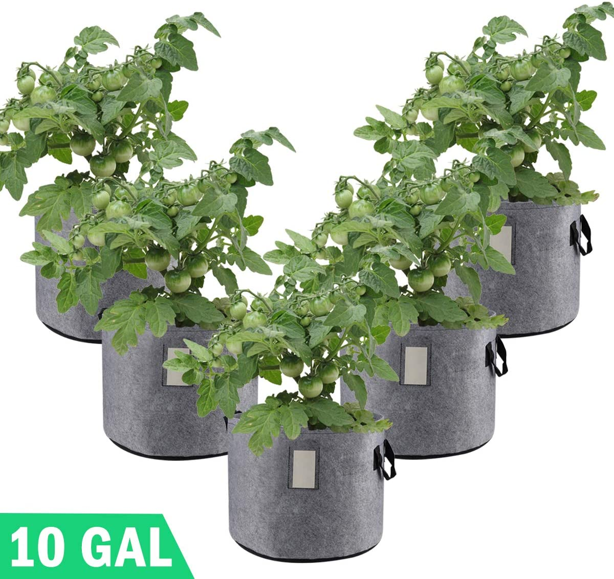 Grow Bags 10 Gallon Garden Planting Bag Aeration Fabric Pot with Handles for Planter 5 Pack