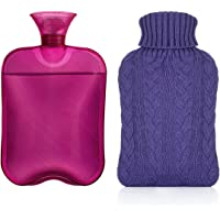 c293c9036f Samply Hot Water Bottle with Knit Cover Classic Hand Warmer for Home and  Outdoor,Purple