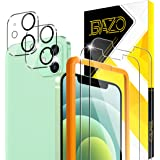 [2+2 Pack] BAZO Compatible for iPhone 12 (6.1 inch) - Tempered Glass Screen Protector + Camera Lens Protector with Easy Insta