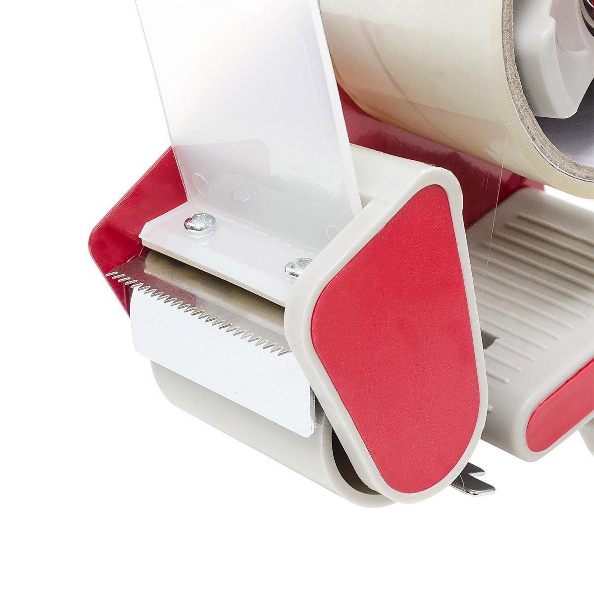Klebebandabroller Pakete /& Kartons zukleben handlich Relaxdays Paketbandabroller rot//grau flexibler Rollwiderstand