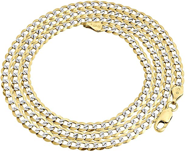 Men/'s 3.5 mm 10k Yellow Gold Pave Cuban Chain 20-26 inch