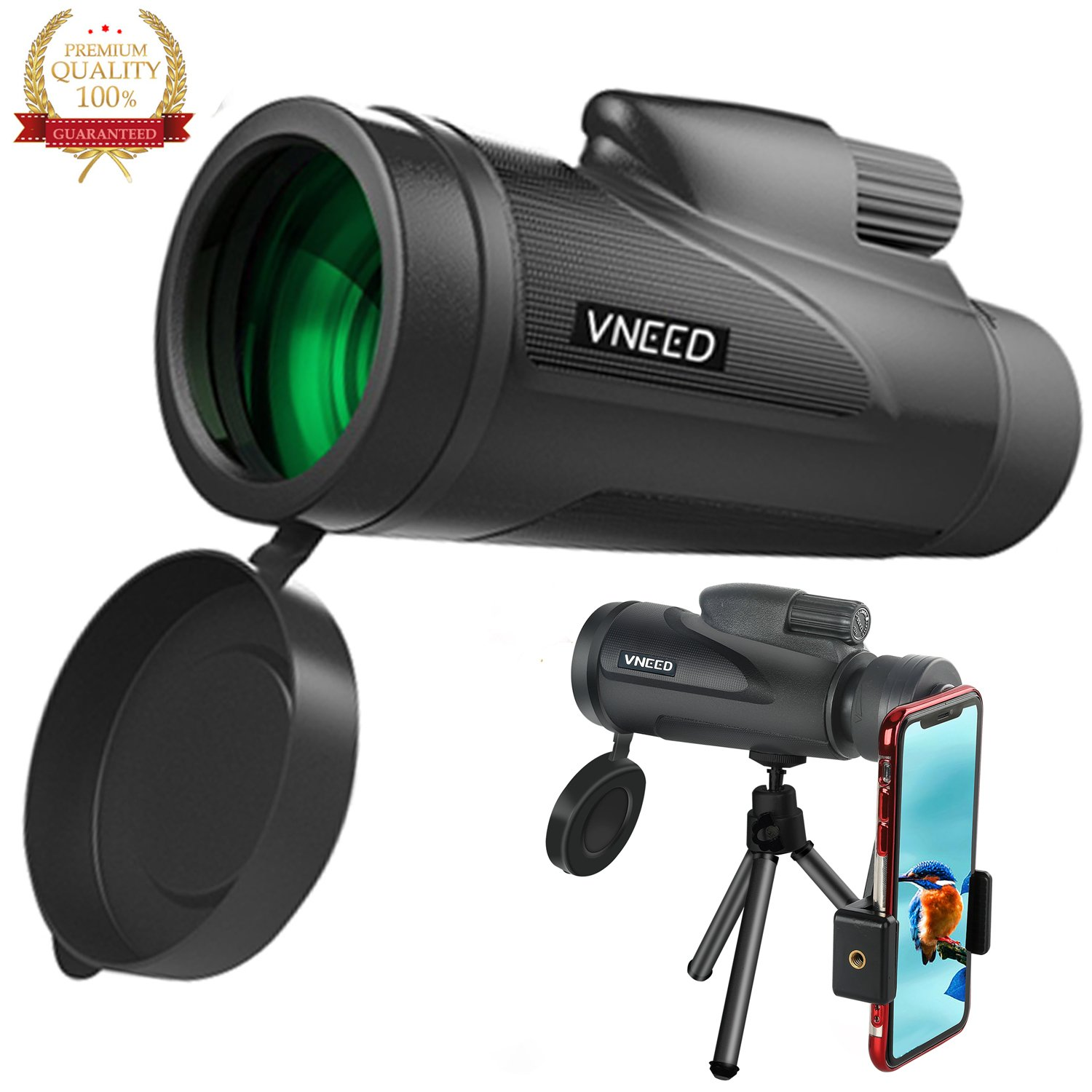 Monocular Telescope for phone 12X50 High-powered BAK4 Prism Low Night Vision Waterproof Fog-proof Smartphone Adapter Tripod Holder for Bird Watching Hunting Camping Hiking Travelling Wildlife (B)
