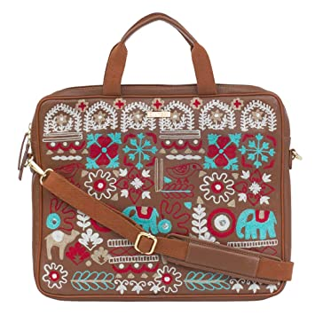 1e6c66a415eb0 Chumbak Regal Elephant Embroidered Laptop Bag - Tan - Buy Chumbak Regal  Elephant Embroidered Laptop Bag - Tan Online at Low Price in India - Amazon. in