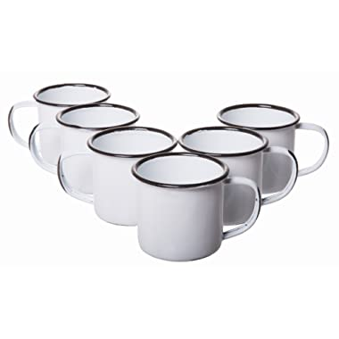 White Rustic Distressed Enamelware Mini Mugs Coffee Shot Cups for Picnics and Camping - Small - Set of 6, 2.25 Inches High x 2.5 Inches, 5 Oz