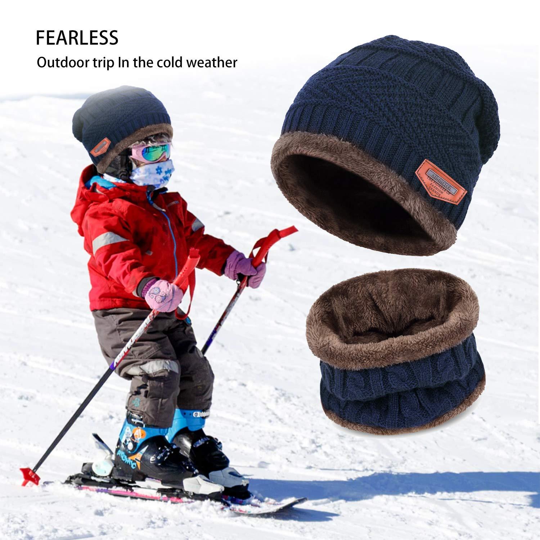 Petrunup Ensemble Bonnet et Écharpe en Tricot d hiver pour Enfant 2 Pièces  Bonnet de Ski Tricoté Épais Doux et Chaud avec Doublure en Polaire pour  Garçons ... 36a28793cb7