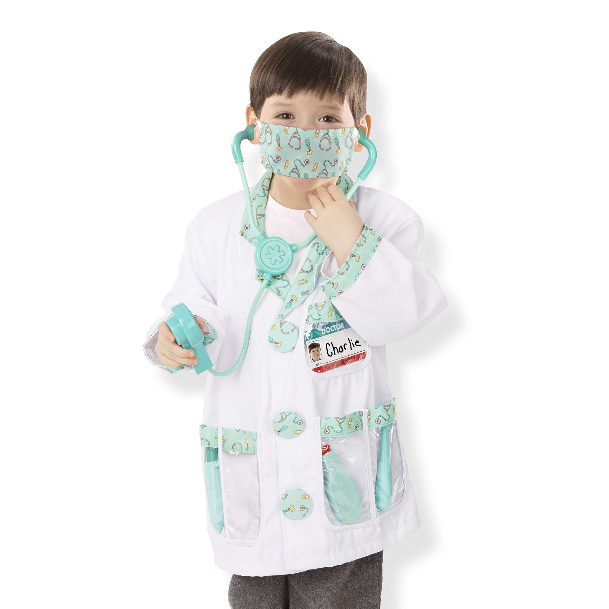 Melissa & Doug Doctor Role-Play Costume Set, Pretend Play, Materials, Machine Washable, 17.5″ H × 24″ W × 0.75″ L