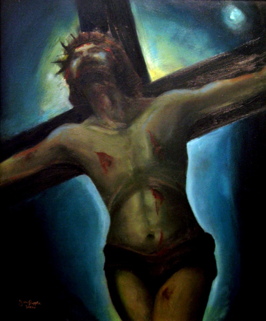 Title: Reverence at Night Original Oil Painting by Julie Papple / 16x20+Jesus Christ in Peace after Death by Papple Art Creations