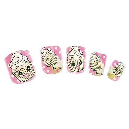 Claires Disney-Lote De 24 uñas perfumadas infantil, diseño De tarta, color rosa