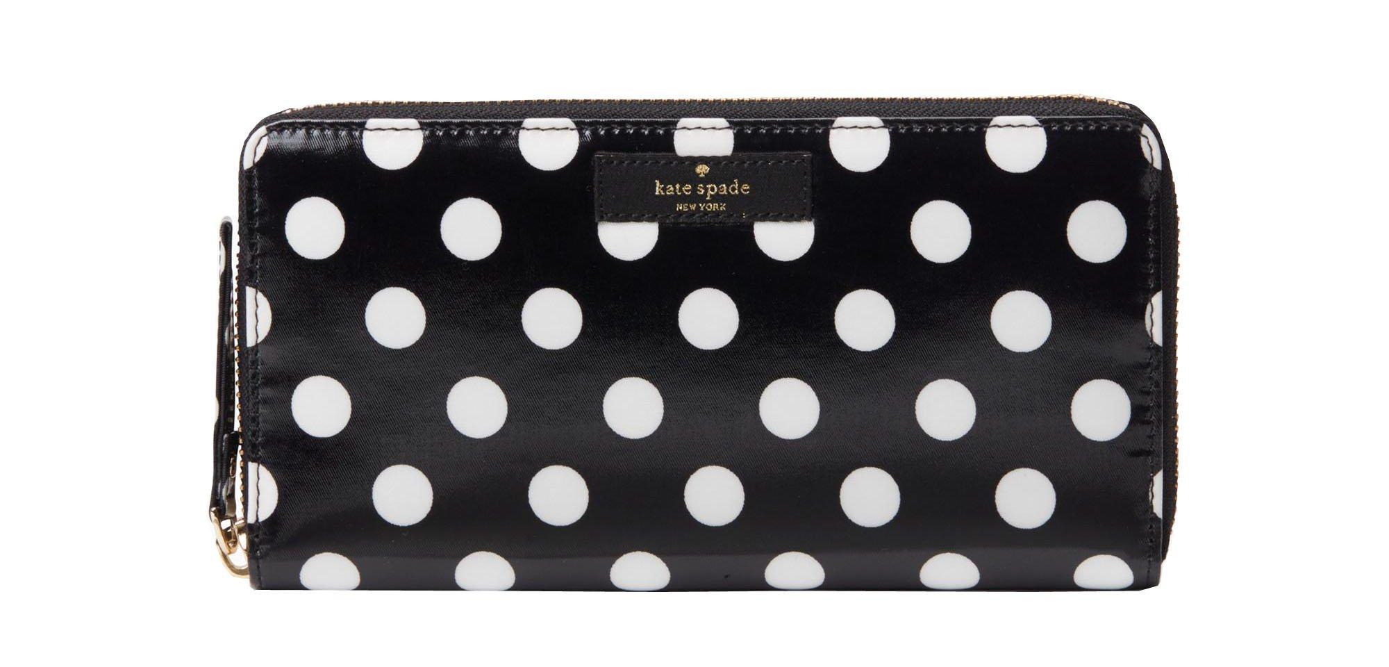 Kate Spade daycation neda wallet, black/cream dot
