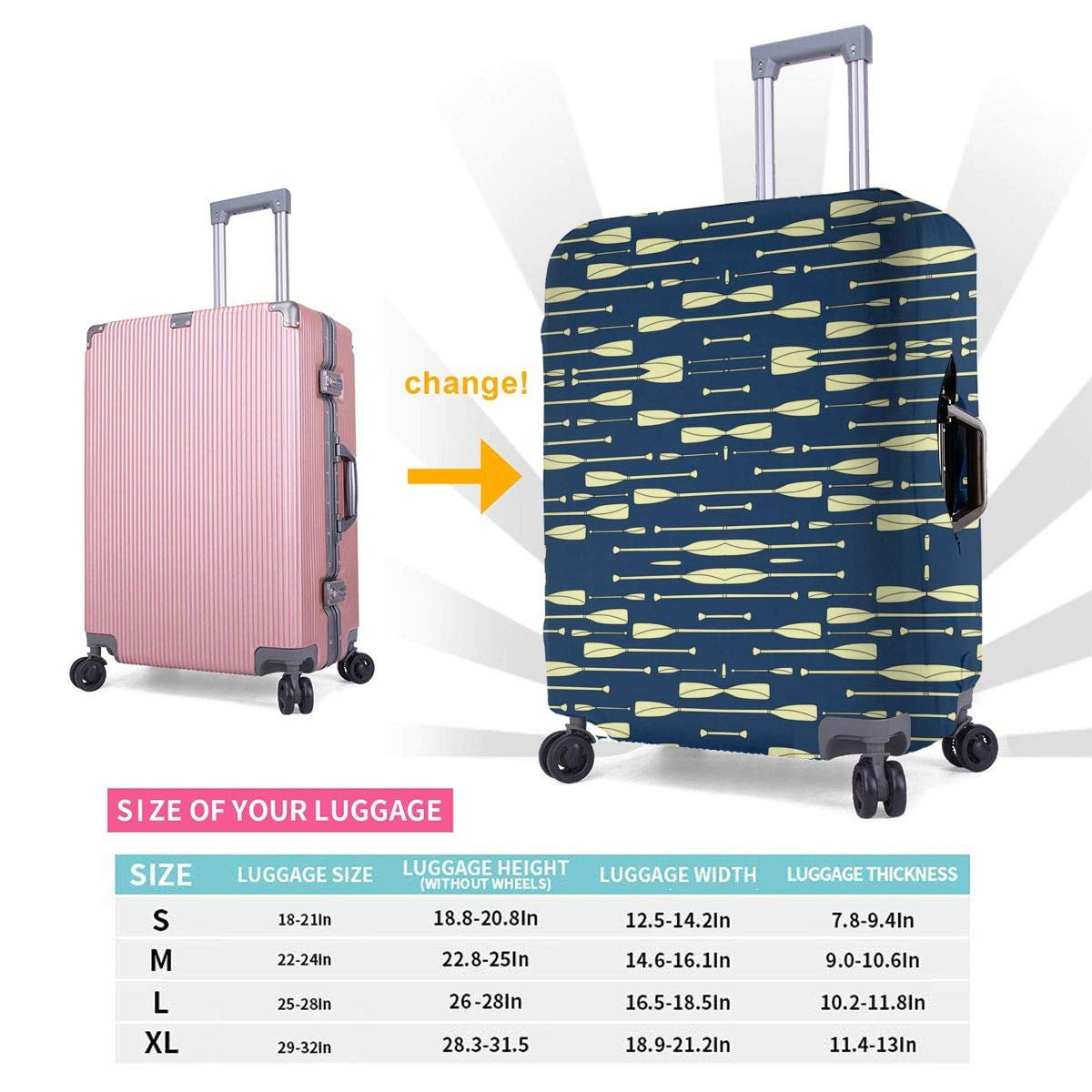 4 Size Rowing Oars Navy And Cream Printed Business Luggage Protector Travel Baggage Suitcase Cover