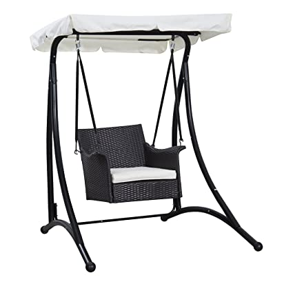Amazon.com: Silla de ratán Outsunny Single Seat mimbre Swing ...