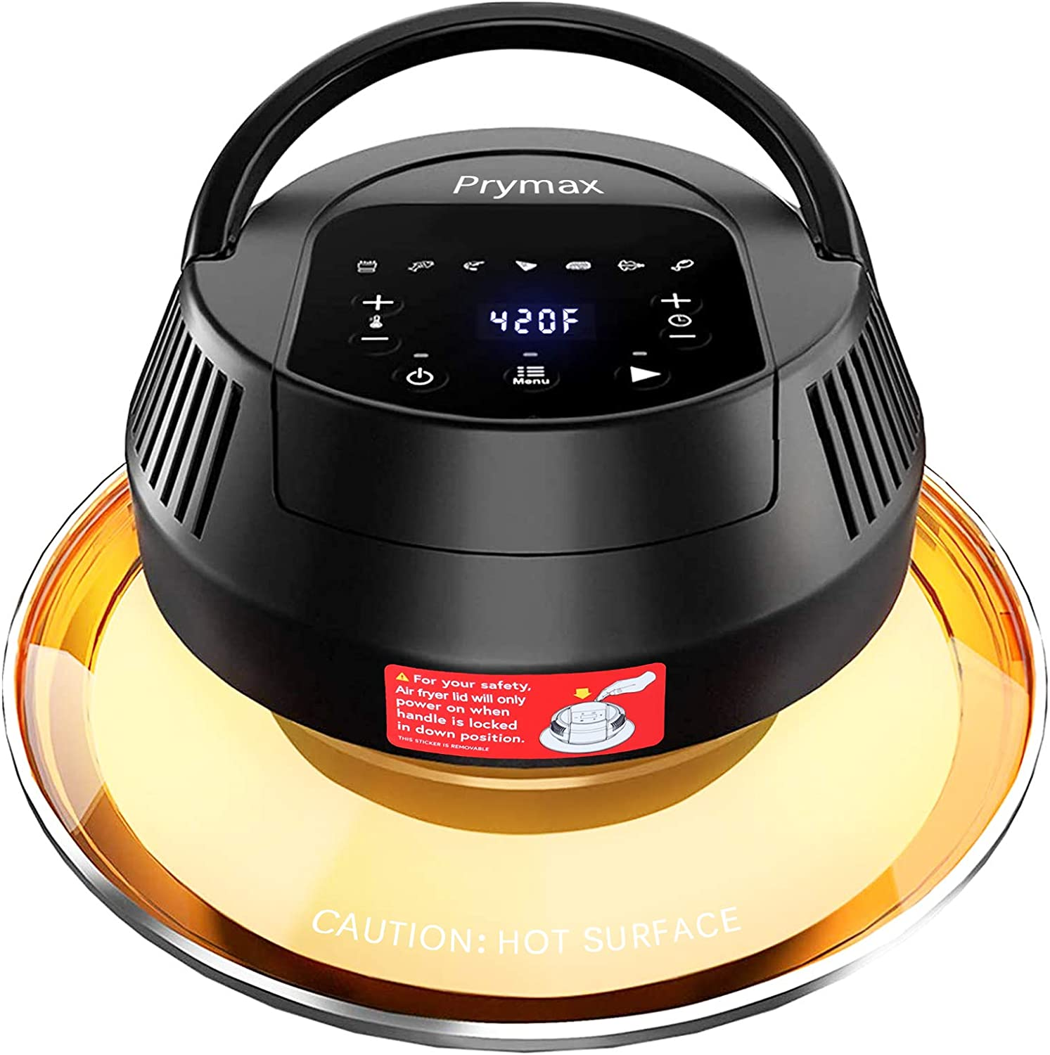 Prymax Air Fryer Lid for Pressure Cooker 6 & 8 Quart, 8 in 1 Air Fryer Lid for Instant Pot, Turn Your Electric Pressure Cooker into Air Fryer with LED Touchscreen and ETL Safety Protection for Air Frying, 98% Less Oil Crisp for Healthier Diet