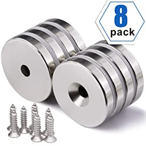1.26 inch x 0.2 inch Neodymium Disc Countersunk Hole Magnets. Strong Permanent Rare Earth Magnets with Screws - Pack of 8