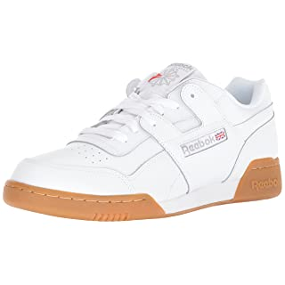 Reebok Men's Workout Plus Cross Trainer, White/Carbon/Classic red, 6.5 M US