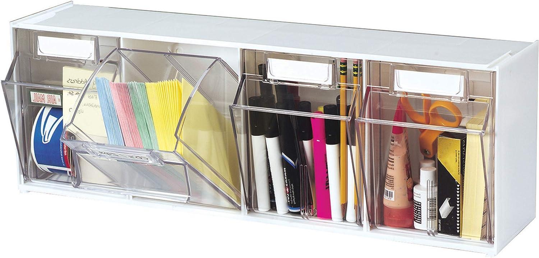 Deflecto Interlocking Multi Storage Organizer Tilt Bin, White