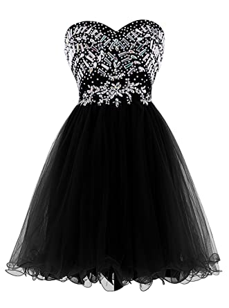 Fanciest Womens Beaded Ball Short Prom Dresses 2016 Wedding Party Gowns Black UK6