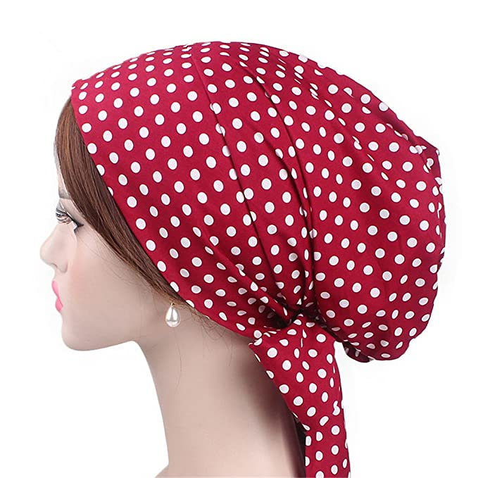 Vintage Scarf Styles -1920s to 1960s Vintage Women Cotton Head Scarf Chemo Cap Bowknot Turban Head wrap $12.99 AT vintagedancer.com