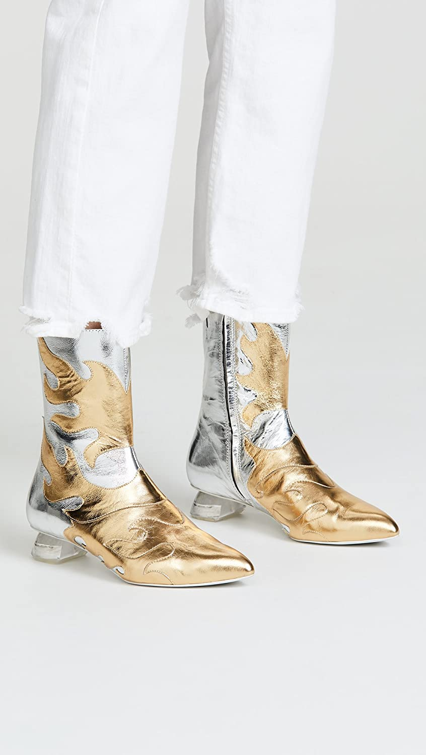 Jeffrey Campbell Women's Skyrocket Flame Ankle Boots B07DL7LZVB 7.5 B(M) US|Silver/Gold