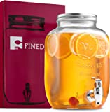 FineDine Glass Beverage Dispenser Mason Jar with Leak Proof Spigot, 1 Gallon