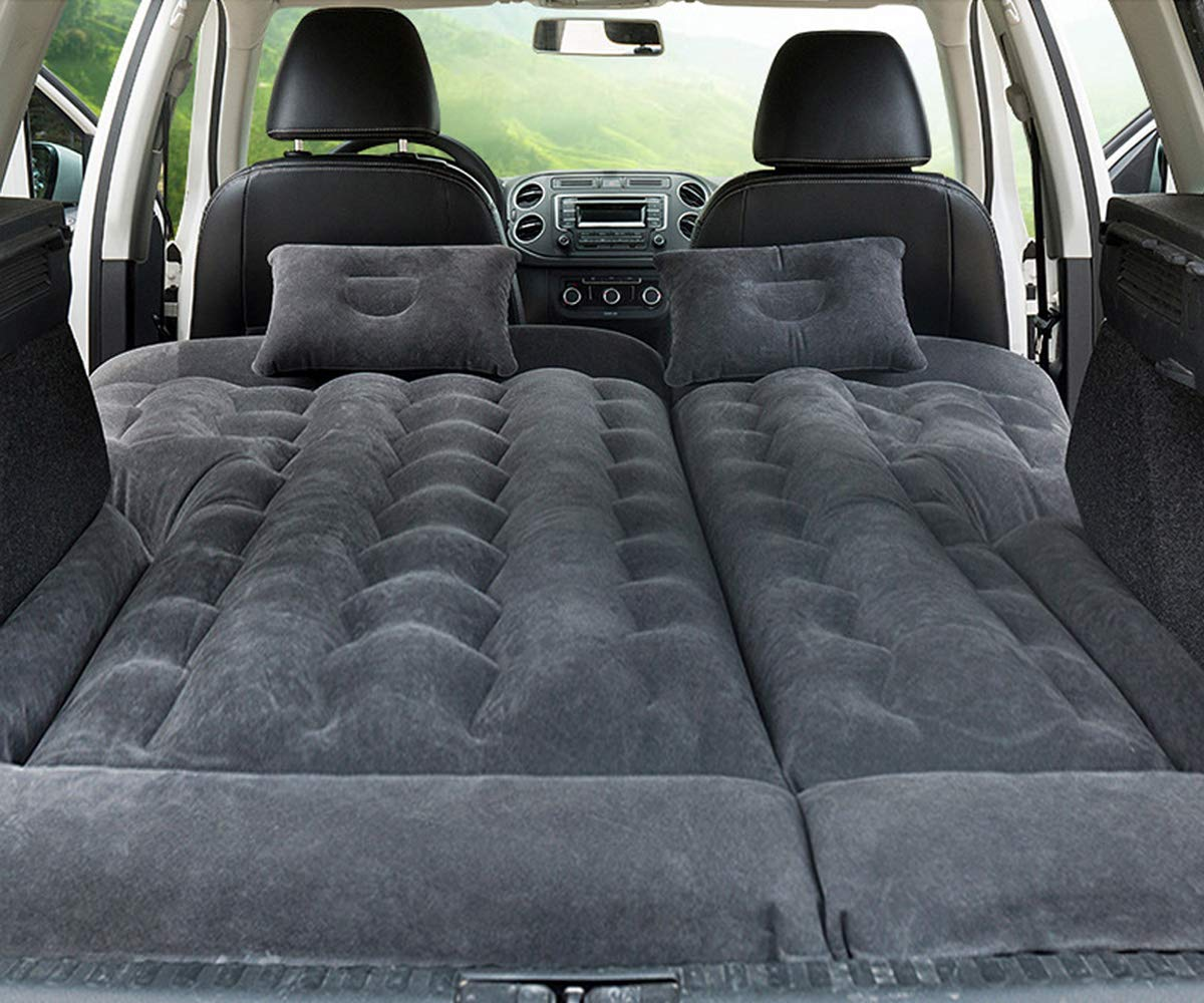 Car SUV Air Mattress Camping Bed with Pillow, Inflatable with Pump for Rest Sleep Travel Camping (Black) by Meiso