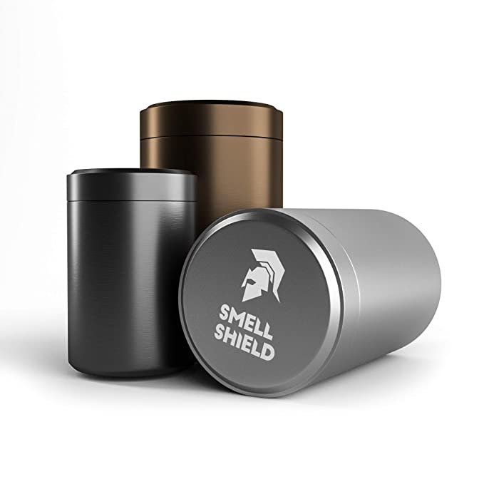 AIR Tight Smell Proof Container 3 Set of Smell Shield Titanium Alloy Stash Jars with Multiuse Utility Includes Travel Size Jar Black/Gold/Silver