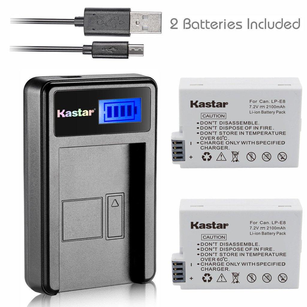 Kastar Battery (X2) & LCD Slim USB Charger for Canon LP-E8, LC-E8E and Canon EOS 550D, EOS 600D, EOS 700D, EOS Rebel T2i, EOS Rebel T3i, EOS Rebel T4i, EOS Rebel T5i Cameras, Grip BG-E8 by Kastar (Image #1)