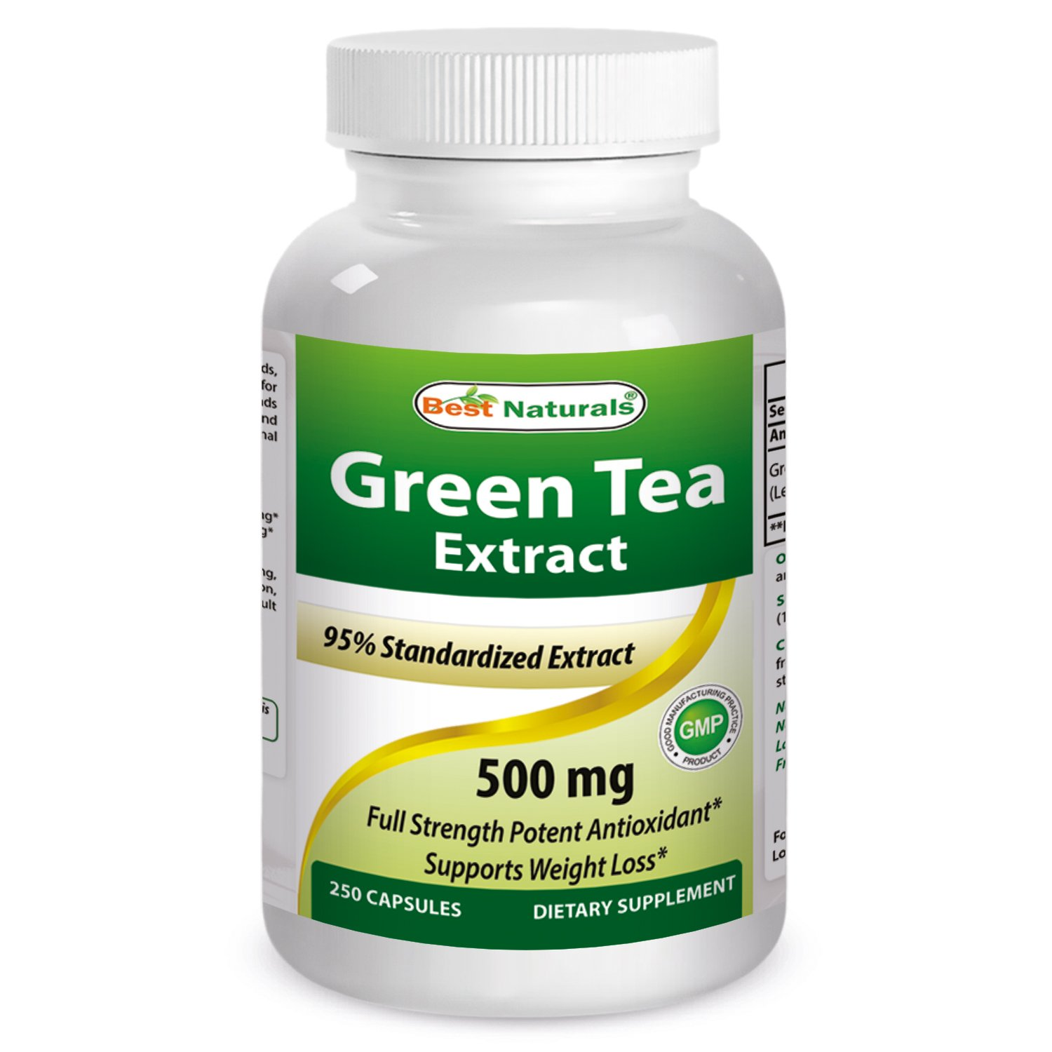Best Naturals Green Tea Extract 500 mg 250 Capsules by Best Naturals