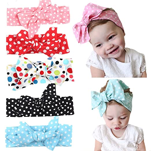 Zeafin Baby Cotton Headbands Turban Knotted Grils Bow Hair Band 5 Pack Dot 8ec1489c604