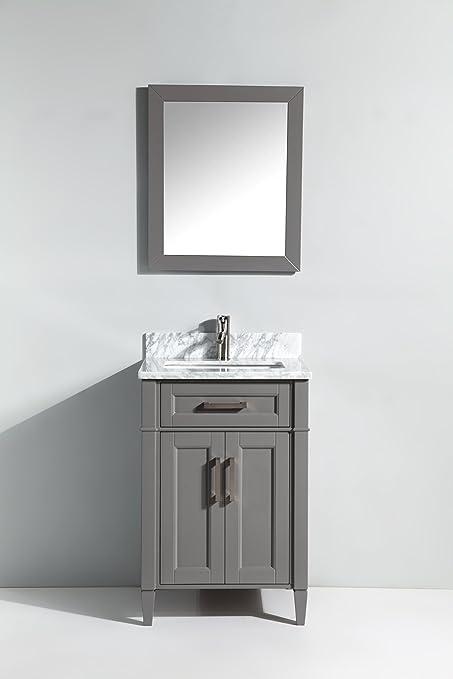 Vanity Art 24 Inch Bathroom Vanity Set With Carrara Marble Stone