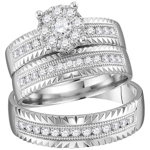 Juego de anillos de boda de oro blanco de 14 quilates para novia y novia,