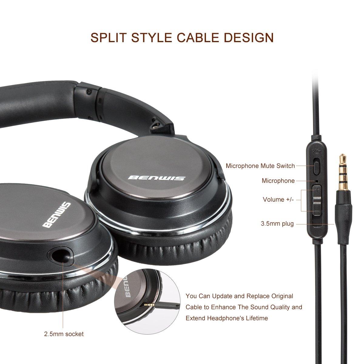 Benwis Wired Computer Headsets, Over Ear Headphones, Lightweight ...