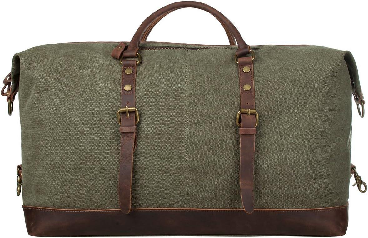 SHS Bolsa de viaje lona de gran tamaño Retro de cuero de bolso de hombro Unisex Bolsa de viaje bolsa de deporte al aire libre bolso de fin de semana (Verde del ejército)