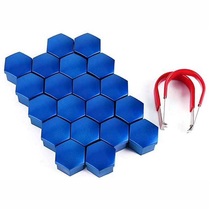 Embellecedores de rosca hexagonales (20 unidades, 17 mm) para tornillos de llantas de neumáticos, con herramienta de extracción universal: Amazon.es: Coche ...