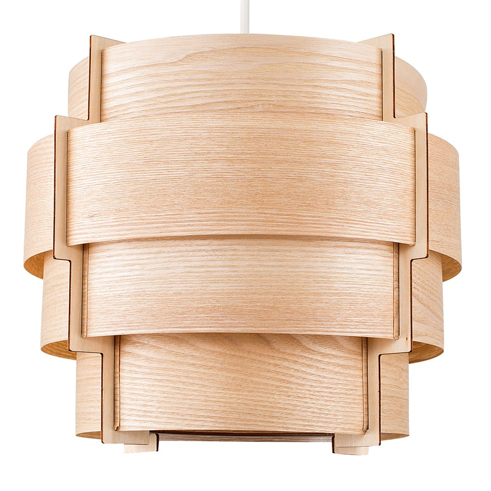 MiniSun Abat-Jour Abats Jour pour suspension. 4 Tambours En Placage du bois Véritable avec une Cadre en Bois. Très contemporain. Adapté pour douille de 28 mm ou de 42 mm