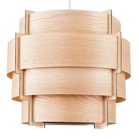 MiniSun - Hermosa pantalla para lámpara de techo Persia de estilo nórdico - Vintage con tiras de madera