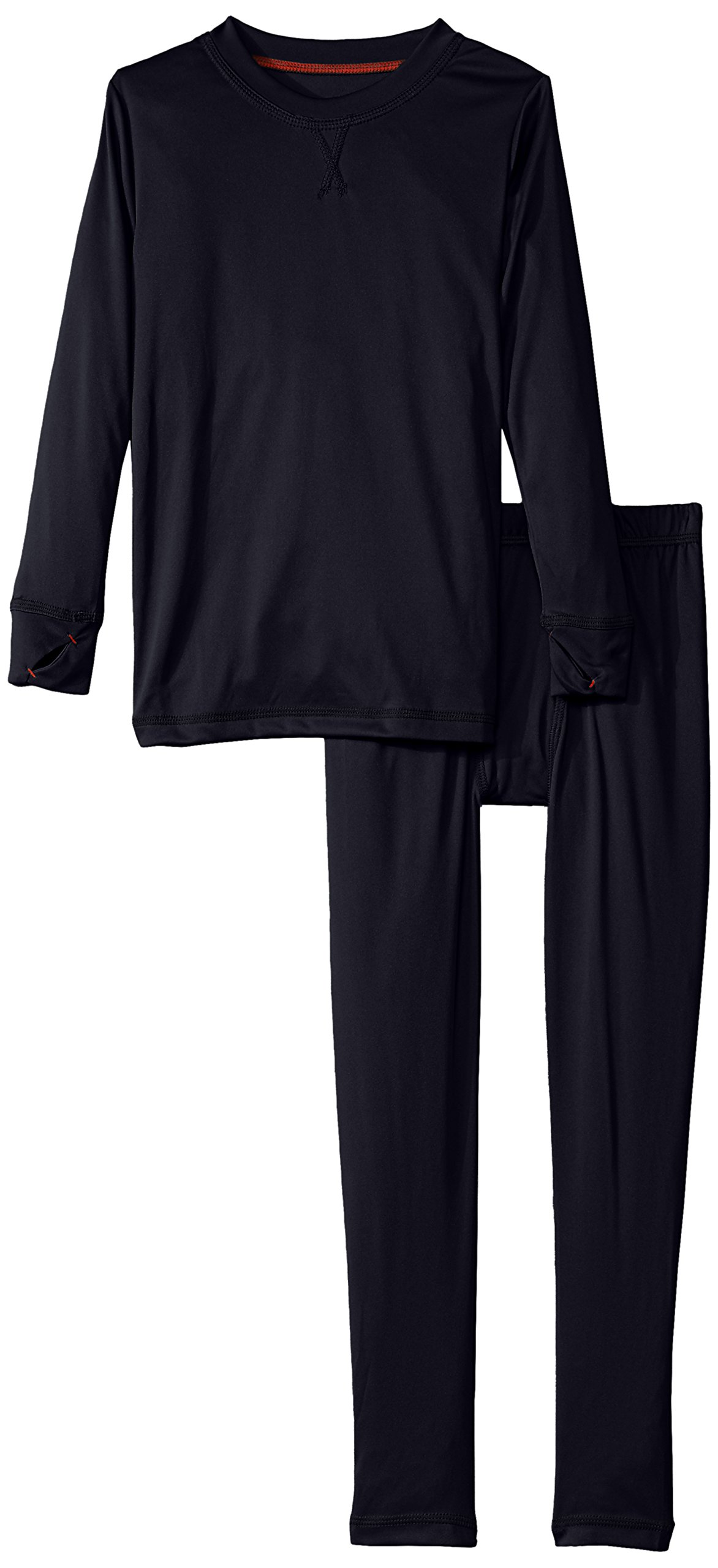 Cuddl Duds Boys' Big Climate Smart Essential Poly Two-Piece Thermal Set, Navy Solid Medium