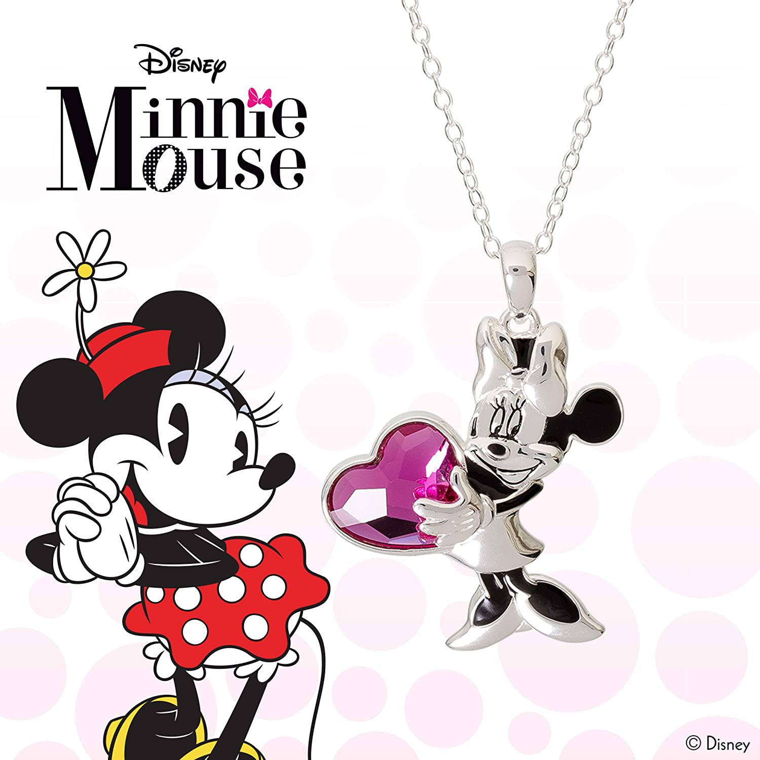 Minnie Mouse Girl Rhinestone Pendant You Choose Color Pink or Red Girl Necklace Key Chain Zipper Pull Birthday Valentine/'s Jewelry Disney