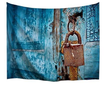A.Monamour Tapices Vintage Azul Madera Rústico Cerradura Angustiado País Garaje Puerta Arte Impresión Tela