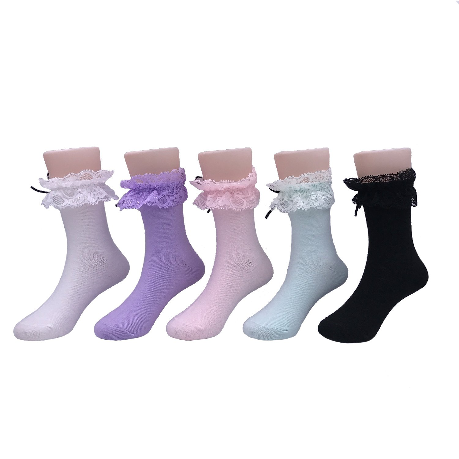 Afom Girls Summer Lace Ruffle Frilly Bowknot Canday Dress Socks 5 Pairs