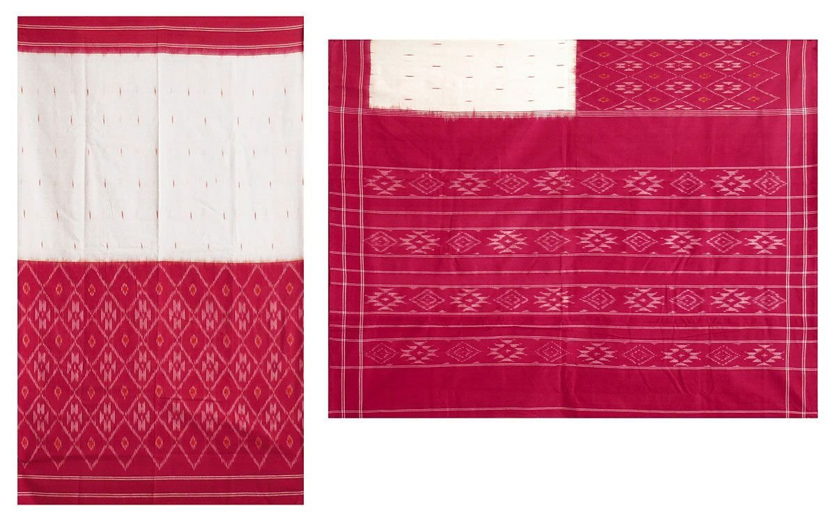 DollsofIndia Ikkat Design on Off-White & Red Cotton Saree with Border & Pallu (NX91) - Ivory, Red