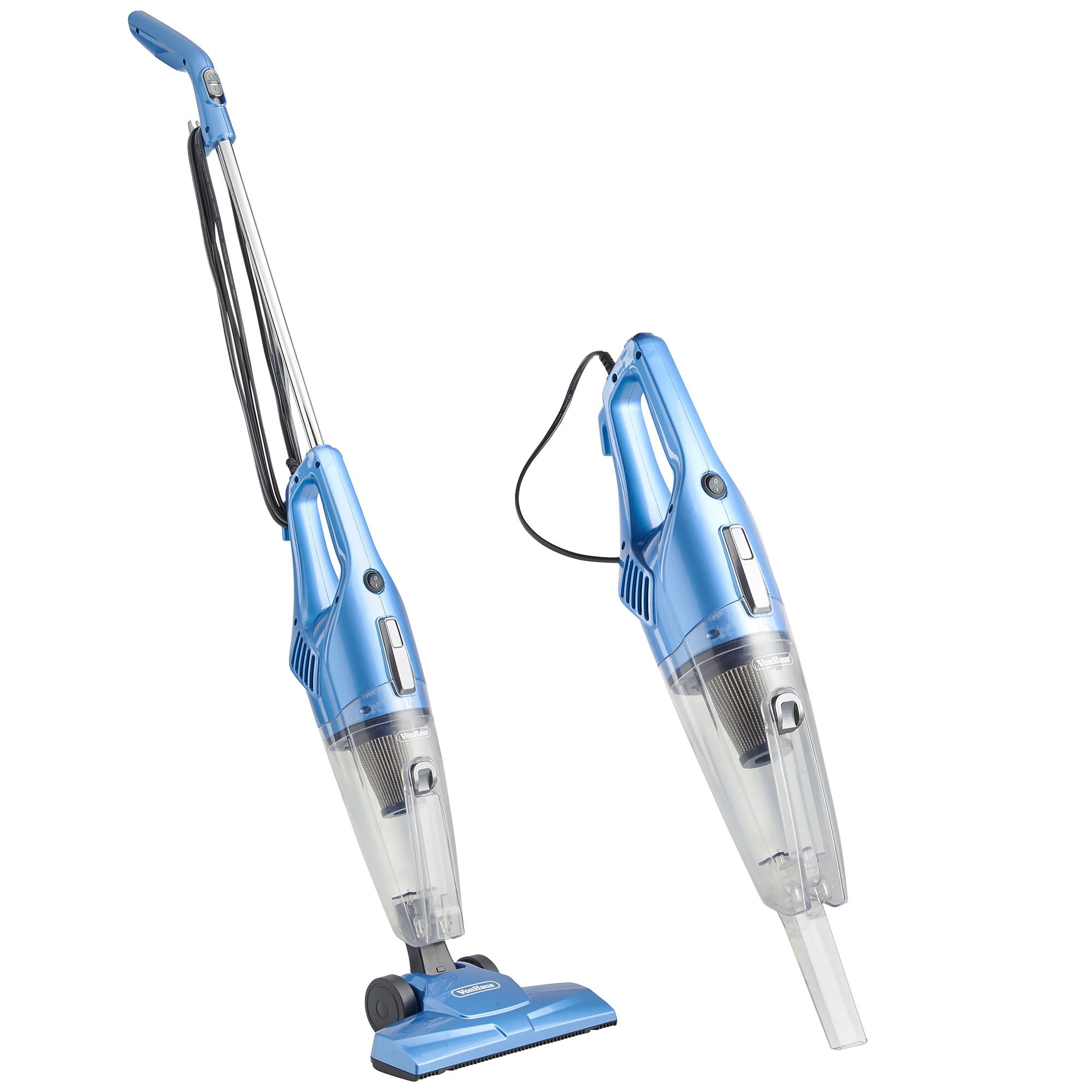 VonHaus 2 in 1 Corded Upright Stick & Handheld Vacuum Cleaner with HEPA Filtration & Crevice Tool - Blue