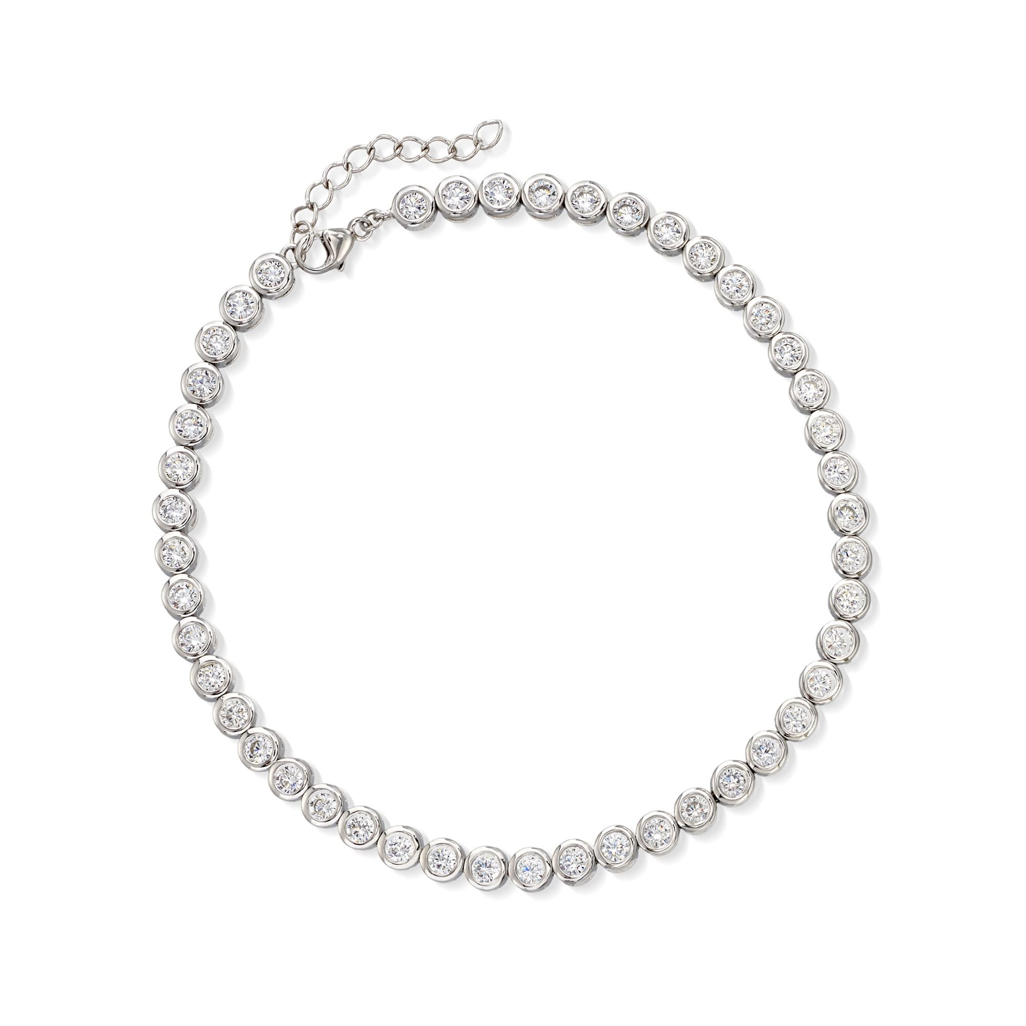 Ross-Simons 4.70 ct. t.w. CZ Anklet in Sterling Silver