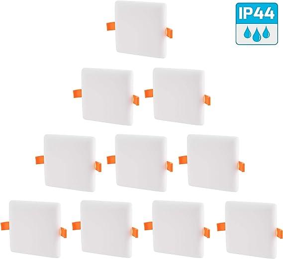 Pack de 10 focos LED empotrables de aluminio sin bordes IP44 18 W ...
