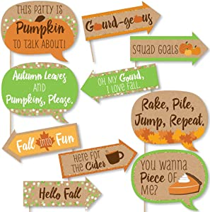 Big Dot of Happiness Funny Pumpkin Patch - Fall, Halloween or Thanksgiving Party Photo Booth Props Kit - 10 Piece