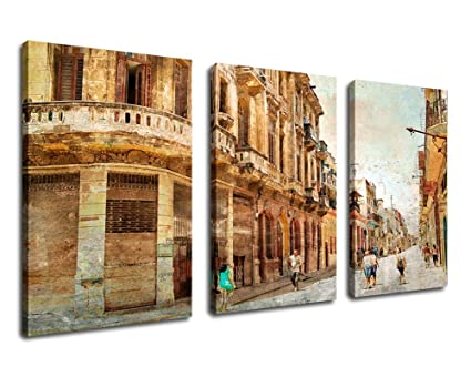 Canvas Wall Art Street Painting Vintage Town Pictures Framed Ready To Hang 3 Piece Canvas Art Large Lane View Of City Contemporary Painting Artwork